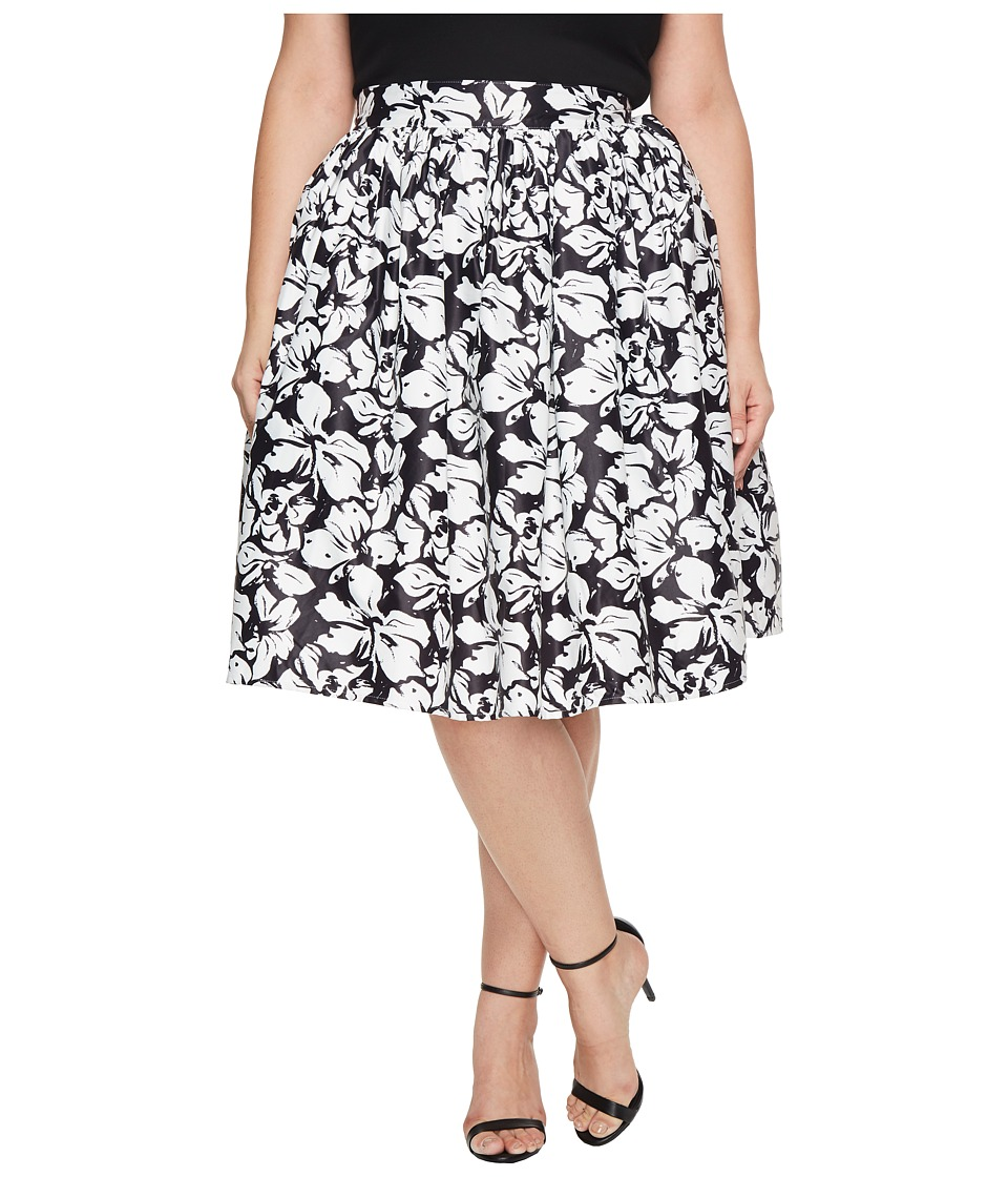 Unique Vintage Plus Size High Waist Swing Skirt (Black/White Floral) Women