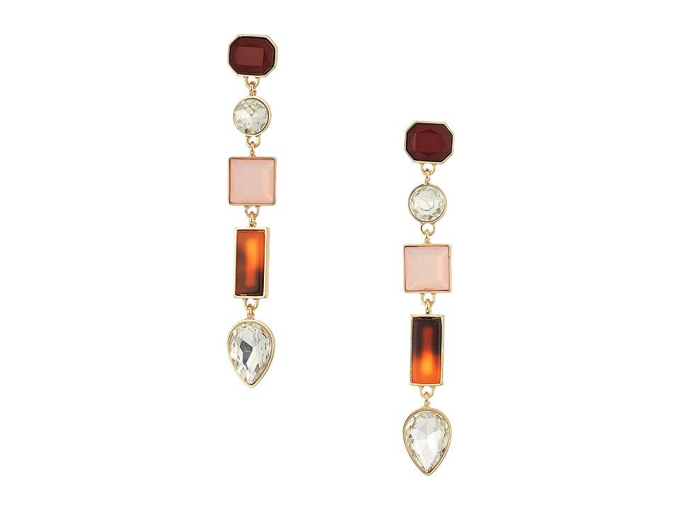 GUESS - Linear Stone Earrings (Gold/Pink Opal/Oxblood) Earring