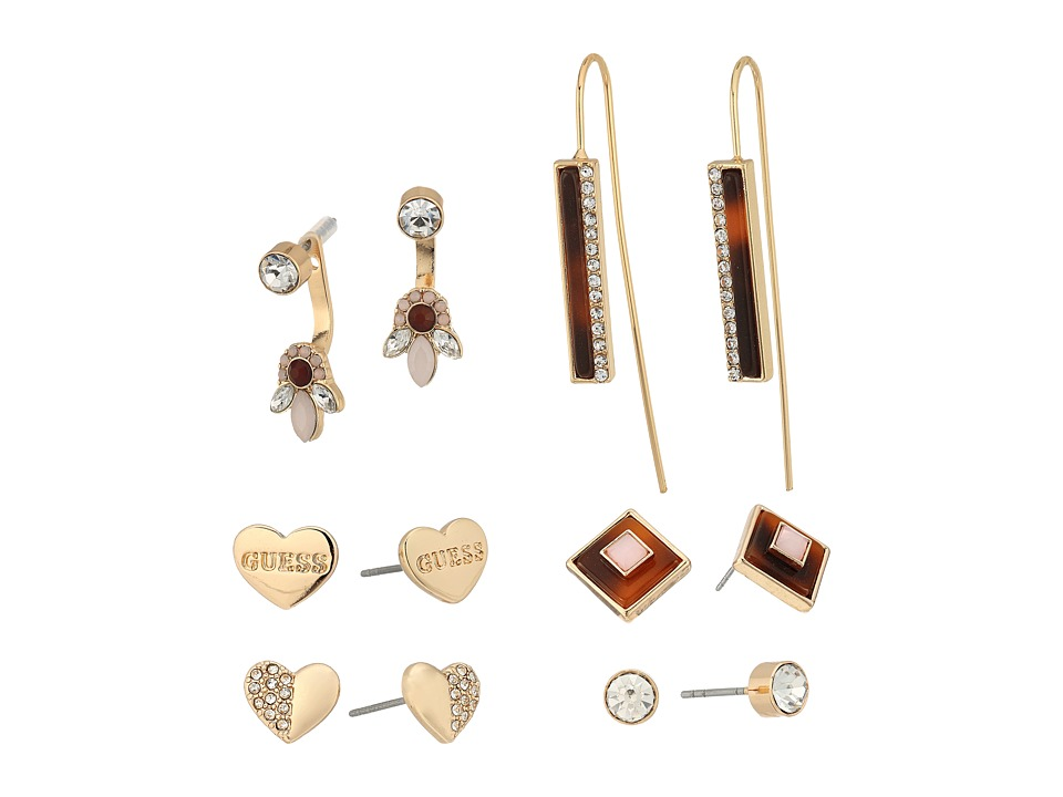 GUESS - 6 Set - Mixed Earrings - Studs, Drop, Front