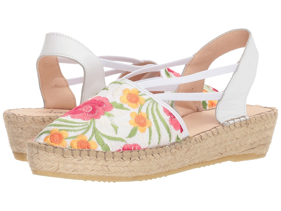 What Did Women Wear in the 1950s? Spring Step - Haleema White Multi Womens Shoes $119.99 AT vintagedancer.com