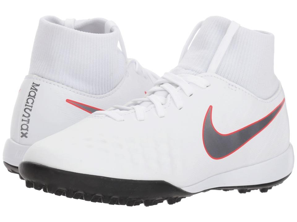 Nike Kids - Jr. Magista ObraX 2 Academy Dynamic Fit TF Soccer (Little Kid/Big Kid) (White/Metallic Cool Grey/Light Crimson) Kids Shoes