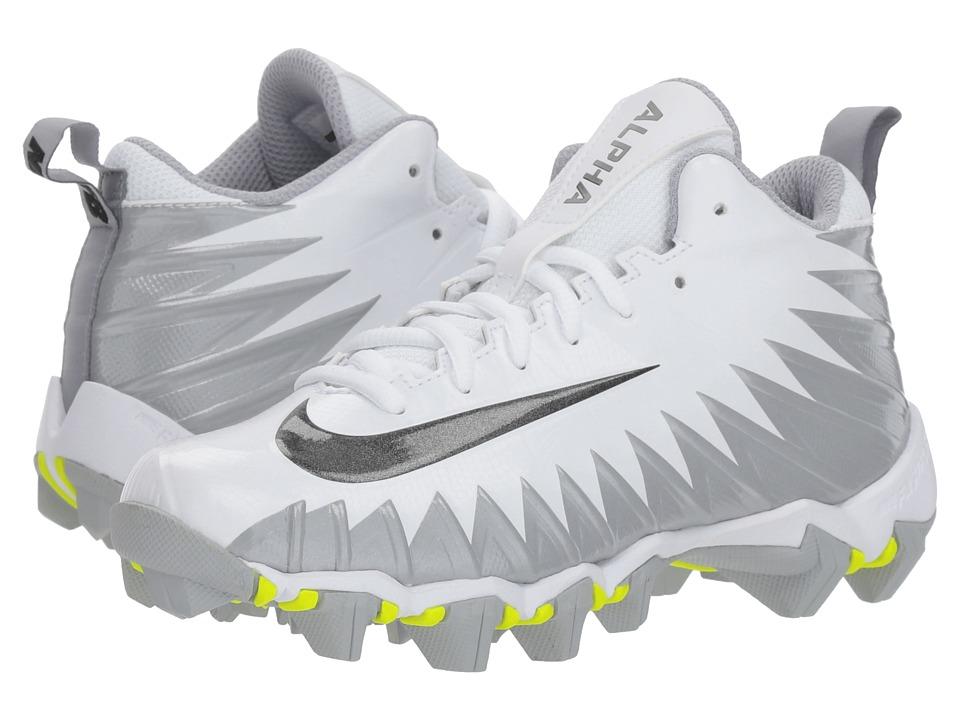 Nike Kids - Alpha Menace Shark Football (Toddler/Little Kid/Big Kid) (White/Black/Metallic Silver/Wolf Grey) Kids Shoes