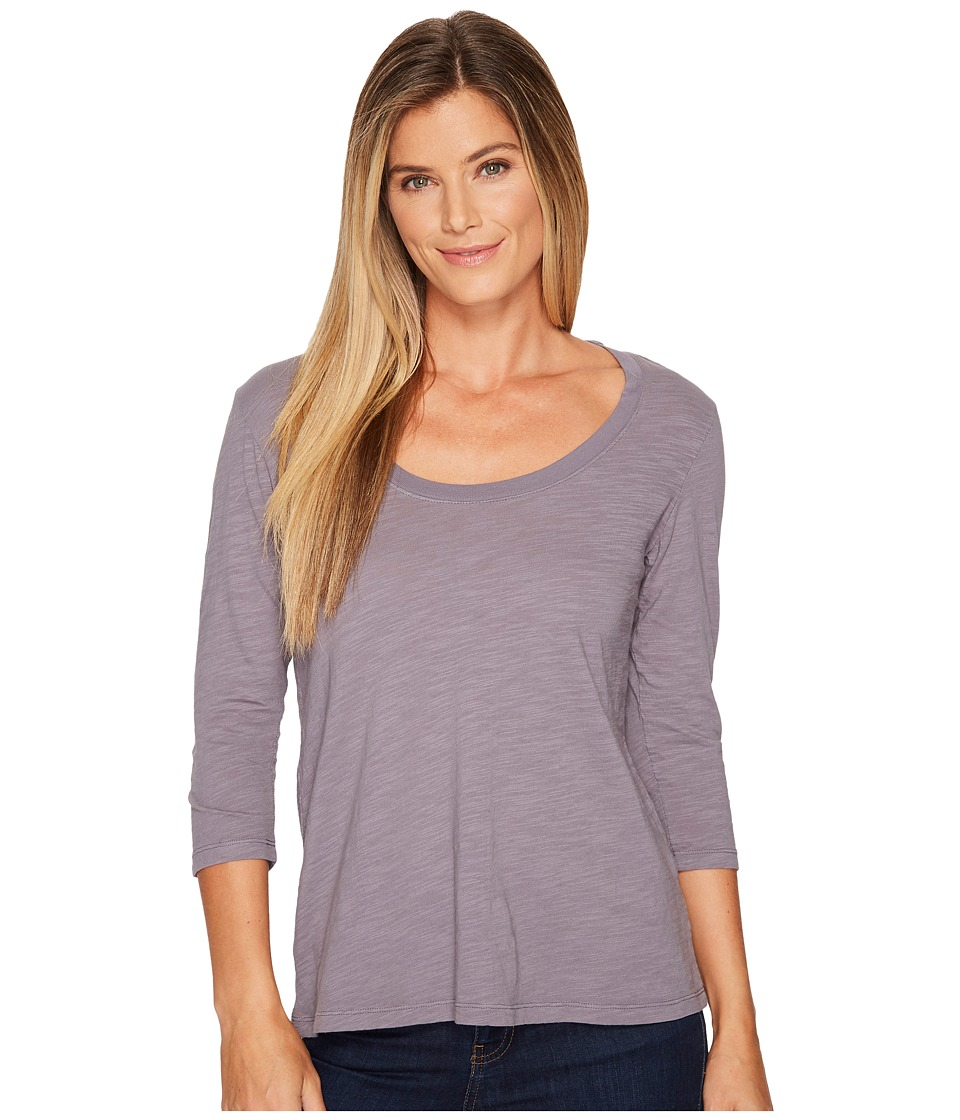 Mod-o-doc - Slub Jersey 3/4 Sleeve Scoopneck Tee (Steel) Womens Long Sleeve Pullover