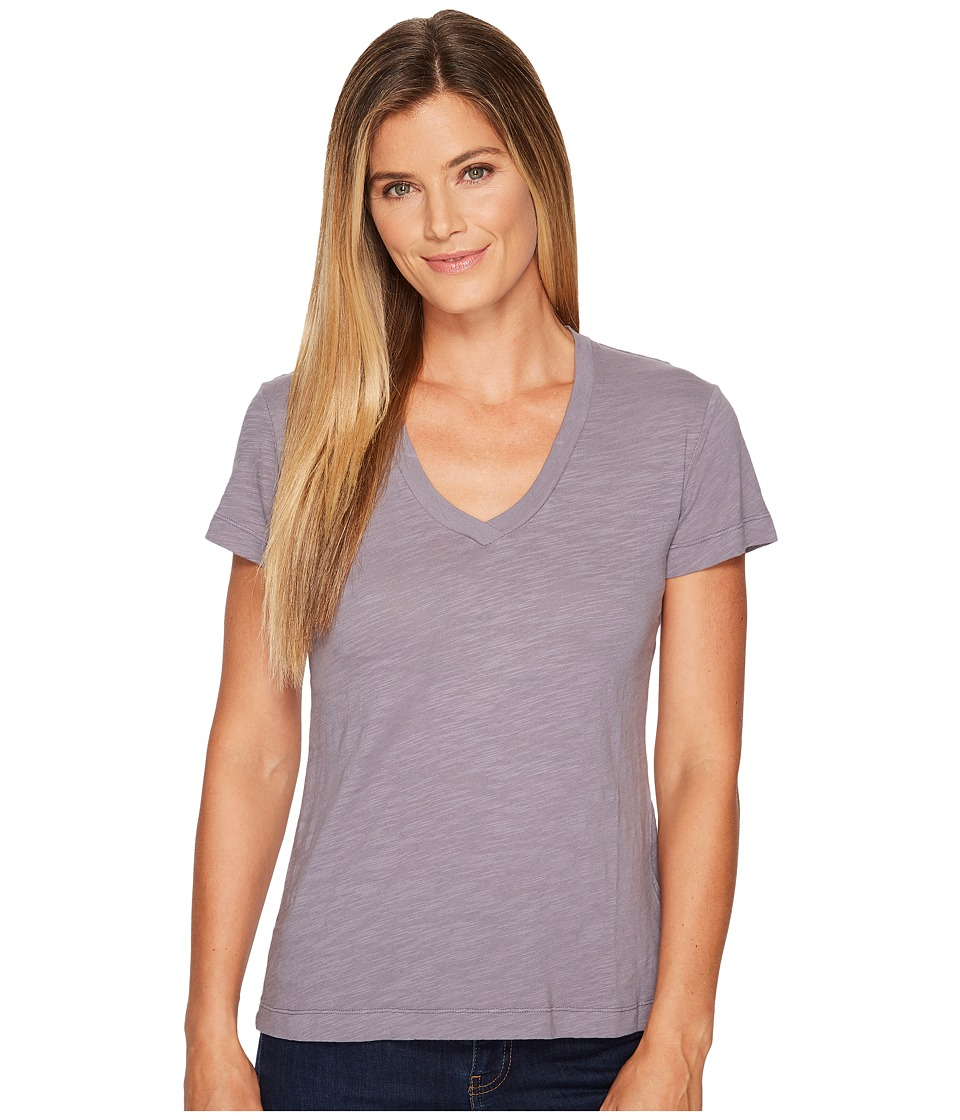 Mod-o-doc - Slub Jersey Short Sleeve V-Neck Tee (Steel) Womens Short Sleeve Pullover