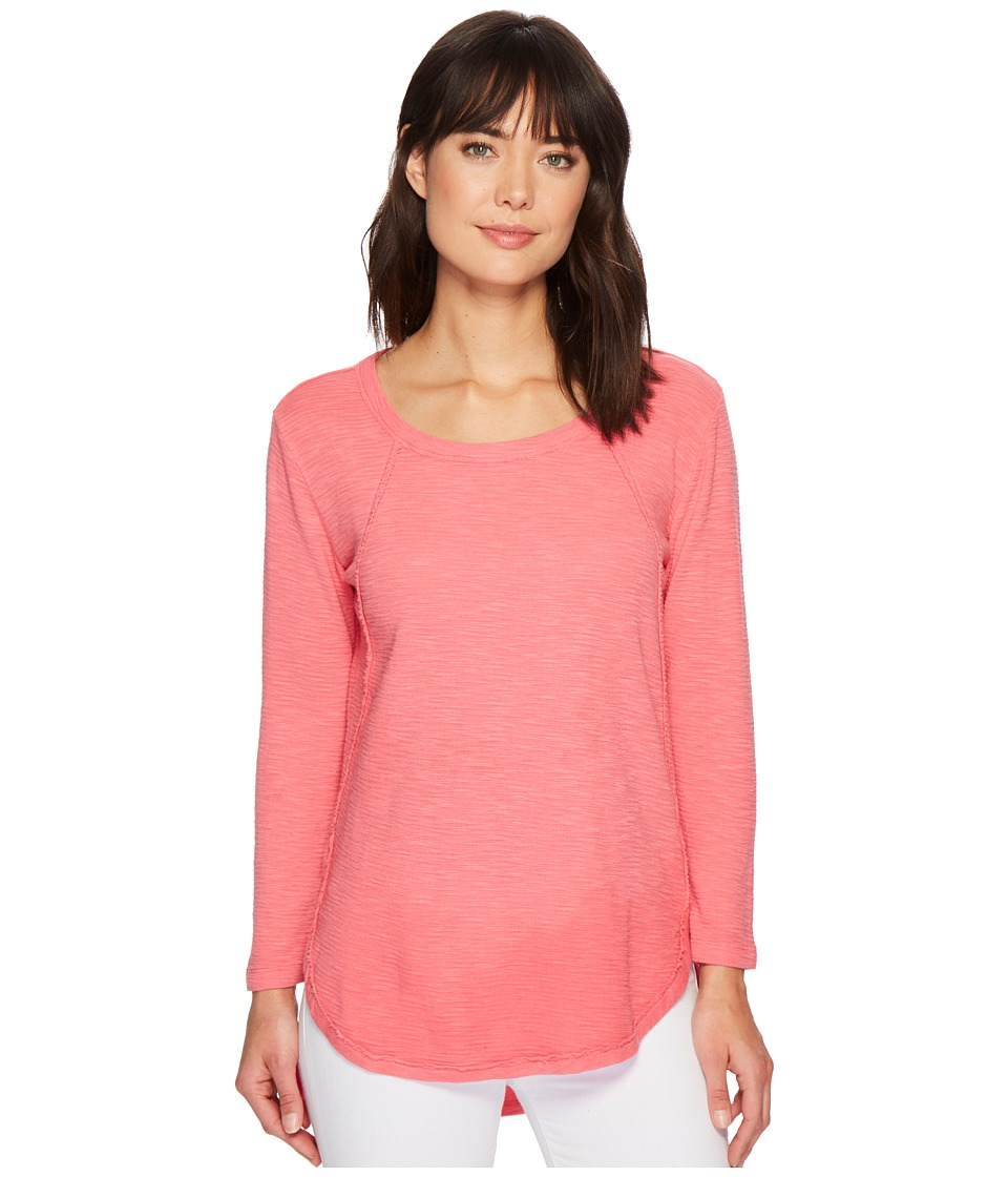 Mod-o-doc - Textured Slub Stripe Raw Edge Seamed Tunic (Faded Red) Womens Long Sleeve Pullover