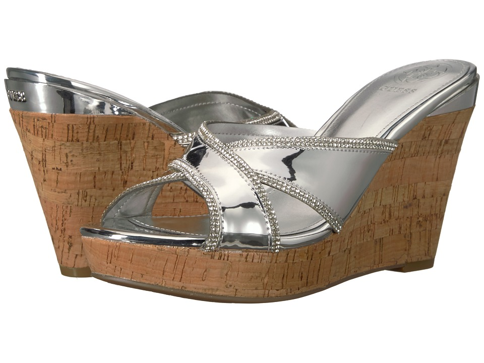 GUESS - Eleonora (Silver Synthetic 1) Womens Wedge Shoes