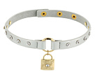 GUESS Studded Faux Leather Choker with Logo Lock Necklace