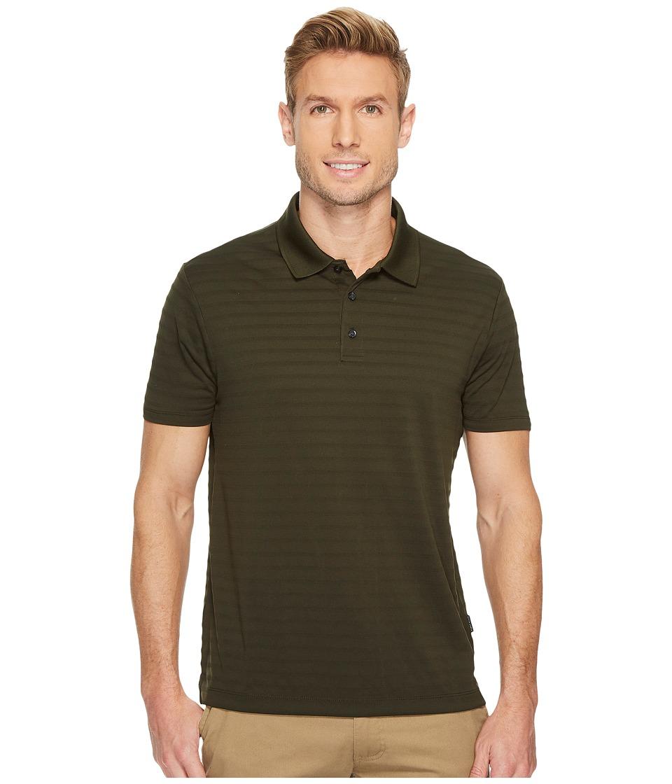 Perry Ellis Short Sleeve Striped Jacquard Polo (Rosin) Men