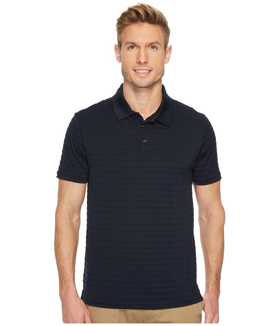 Perry Ellis Short Sleeve Striped Jacquard Polo (Dark Sapphire) Men