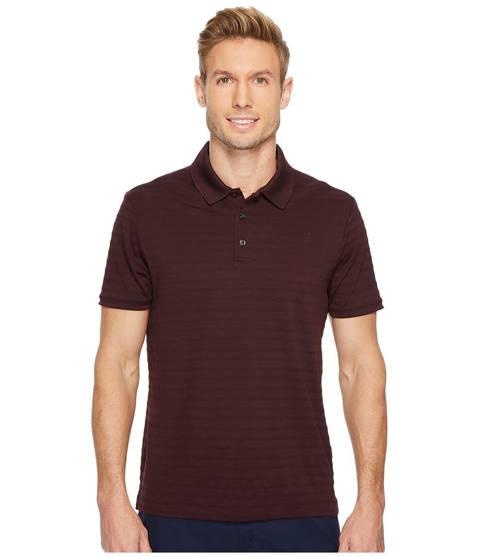 Perry Ellis Short Sleeve Striped Jacquard Polo (Port) Men