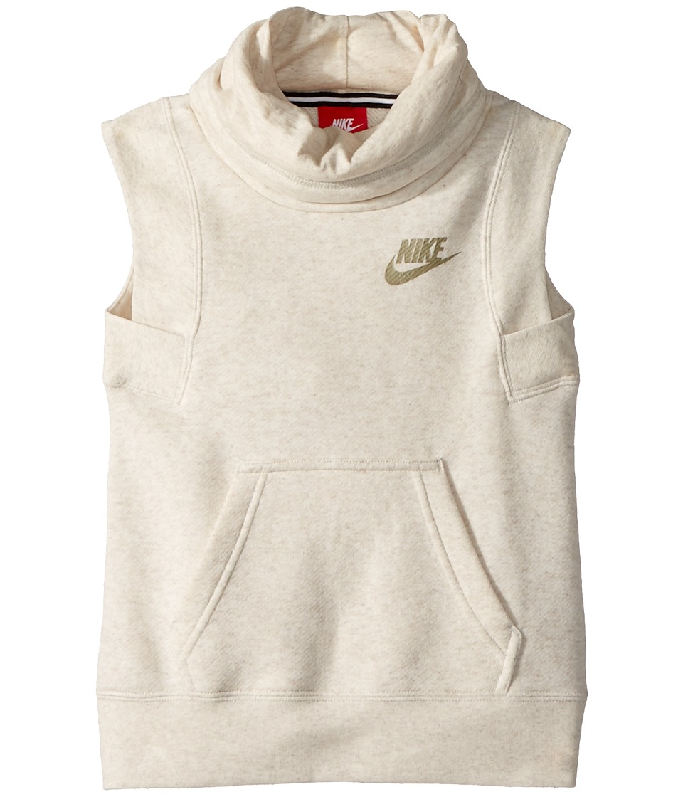 Nike Kids - NSW Modern Sleeveless Funnel Top (Little Kids/Big Kids) (Light Bone/Heather/Light Bone) Girls Sleeveless
