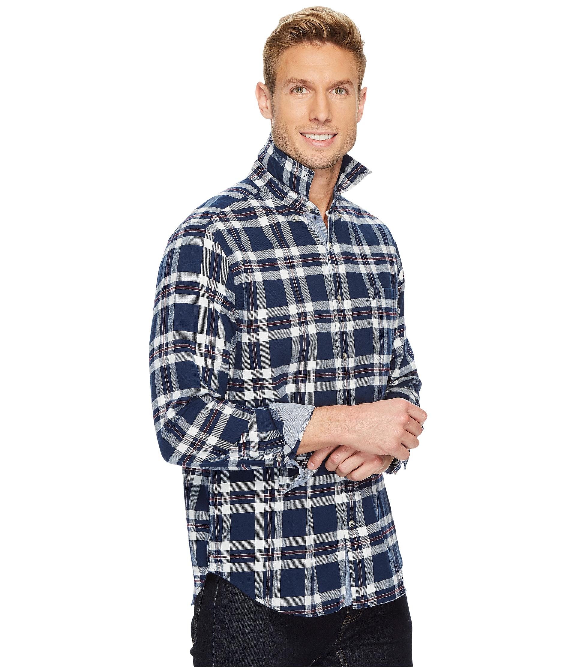 Nautica long sleeve flannel plaid shirt at for Long plaid flannel shirt