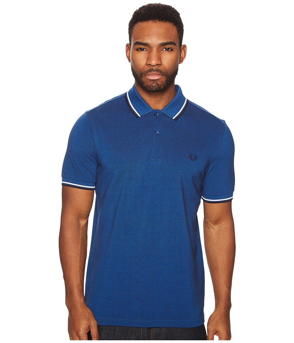 Fred Perry - Twin Tipped Shirt (Prince Carbon Oxford/Snow White/Navy) Mens Short Sleeve Knit
