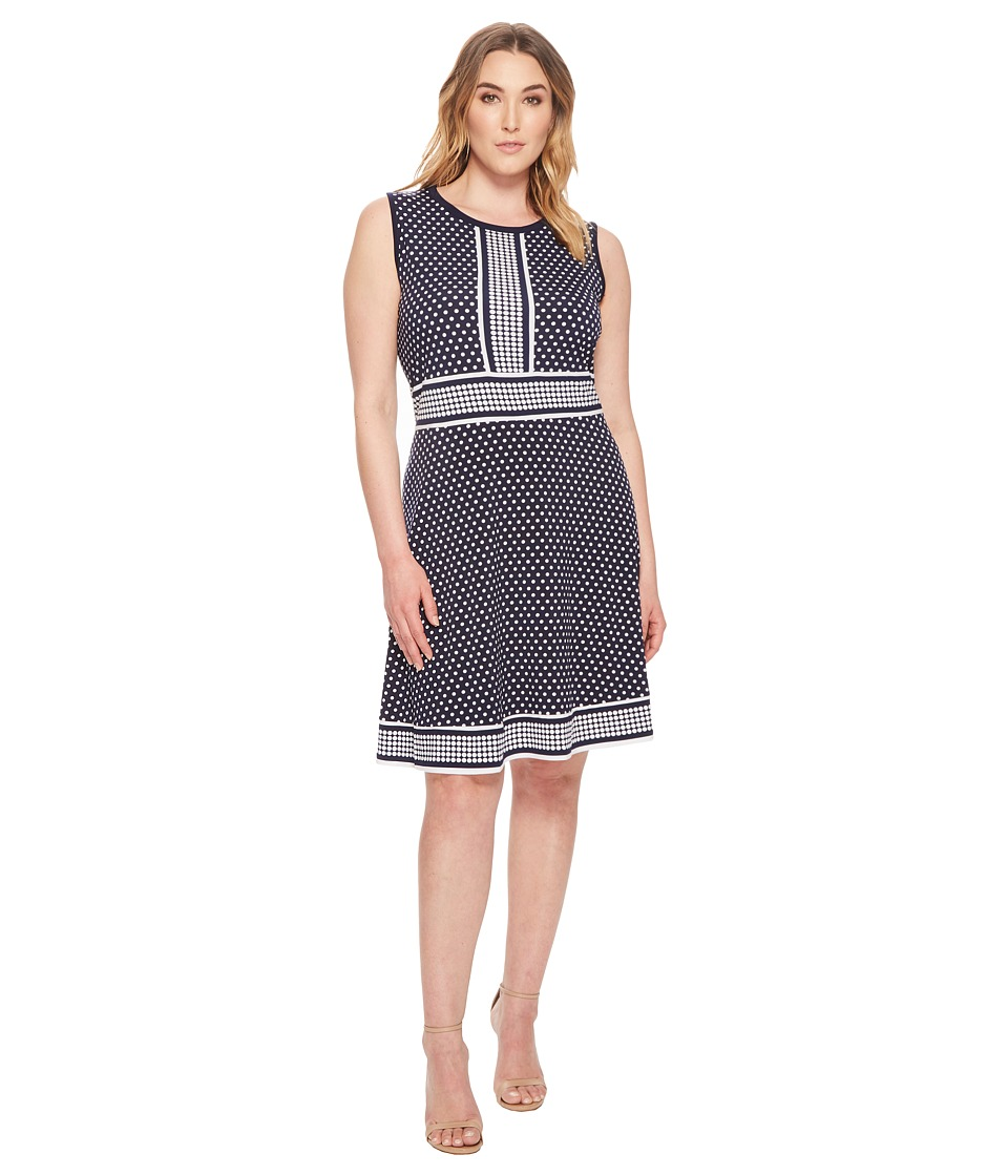 MICHAEL Michael Kors - Plus Size Simple Dot Sleeveless Border Dress (True Navy/White) Womens Dress