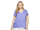 MICHAEL Michael Kors Plus Size Flounce V-Neck Short Sleeve Top