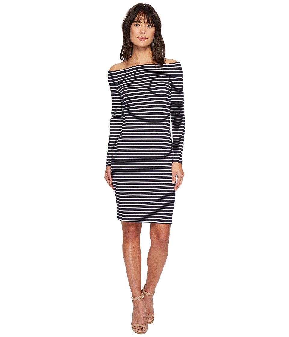 MICHAEL Michael Kors - Striped Off Shoulder Dress (True Navy/White) Womens Dress