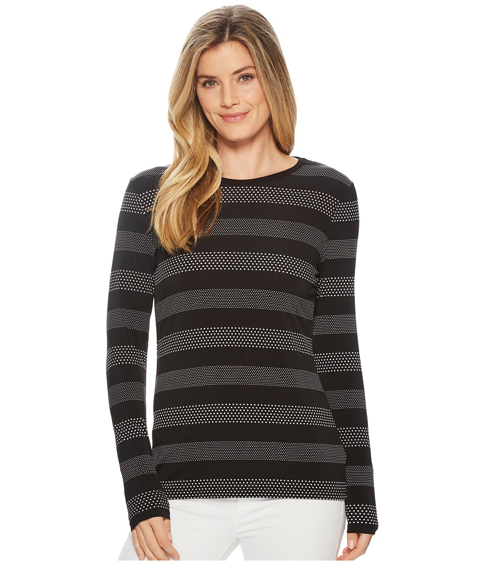 MICHAEL Michael Kors - Striped Long Sleeve Crew Neck Top (Black/White) Womens Clothing