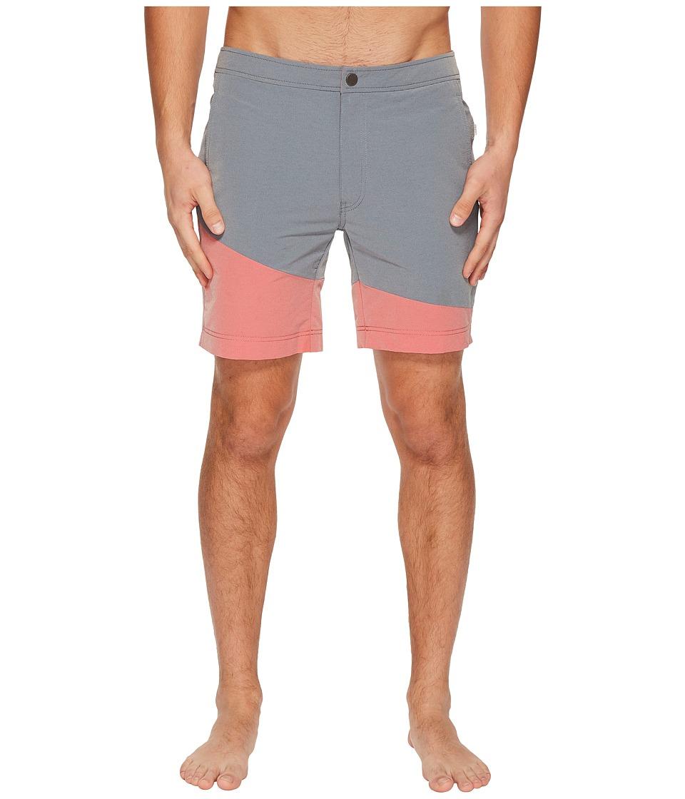 onia Calder 7.5 Color Block Swim Shorts (Washed Navy/Cardinal Red) Men