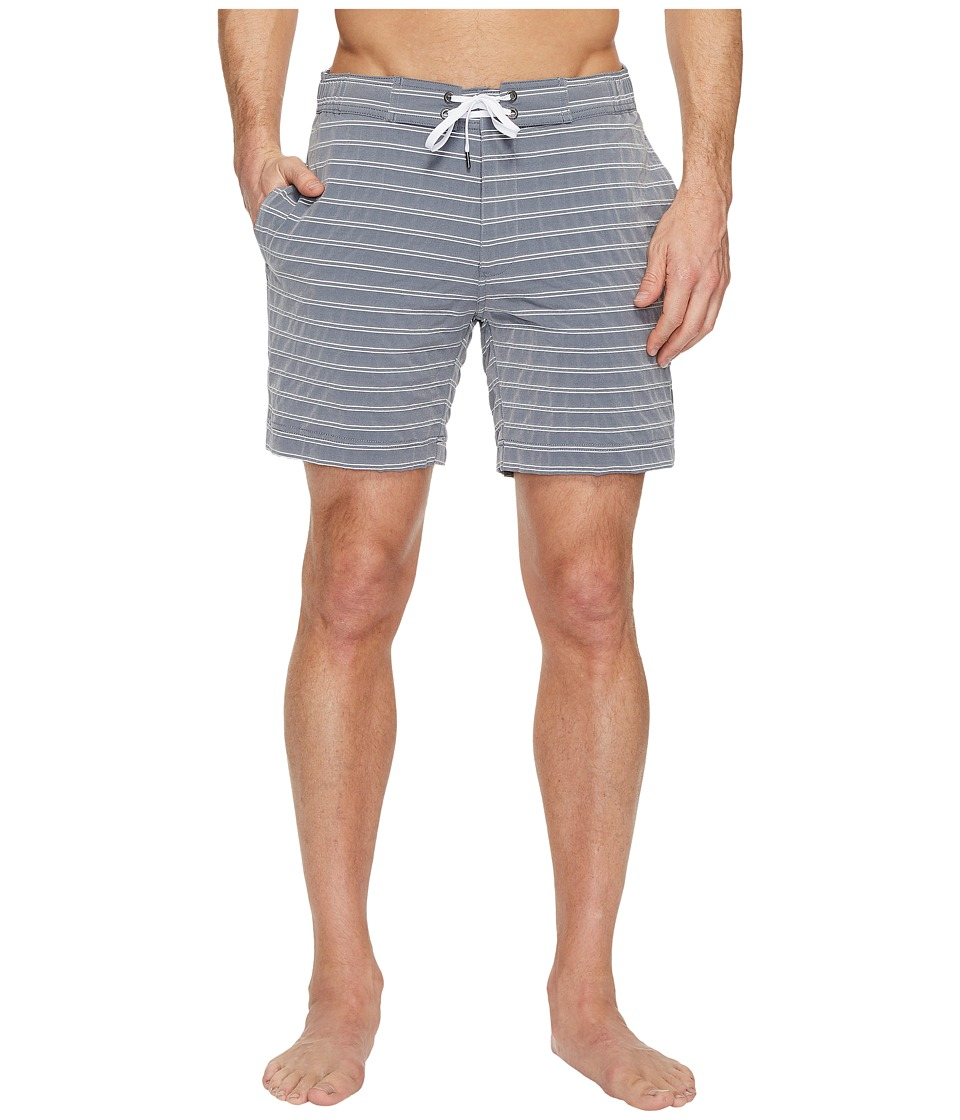 onia Alek 7 Stripe Swim Shorts (Deep Navy/White) Men