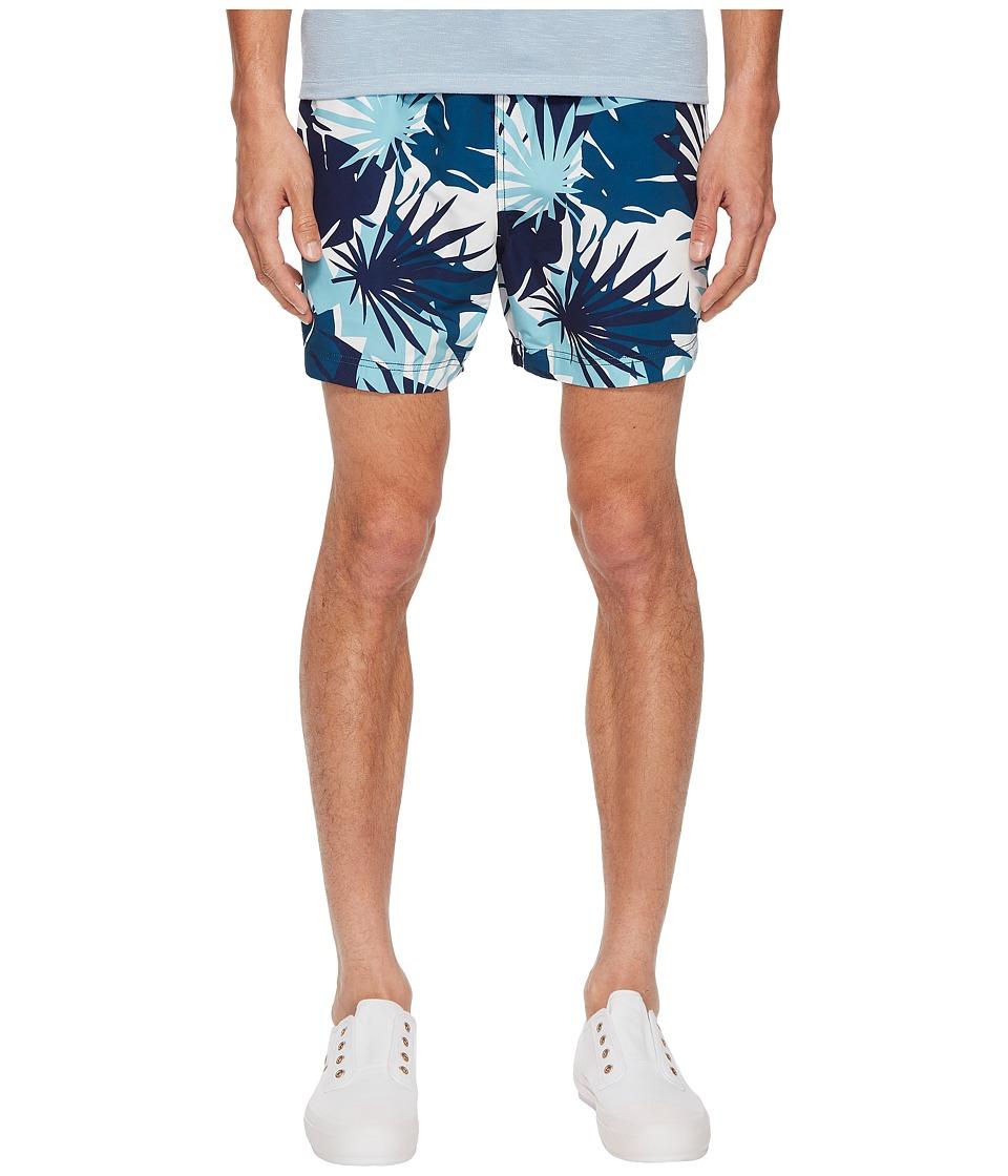 onia - Charles 5 Cote DAzure Palms Swim Shorts (Aegean Sea Multi) Mens Swimwear