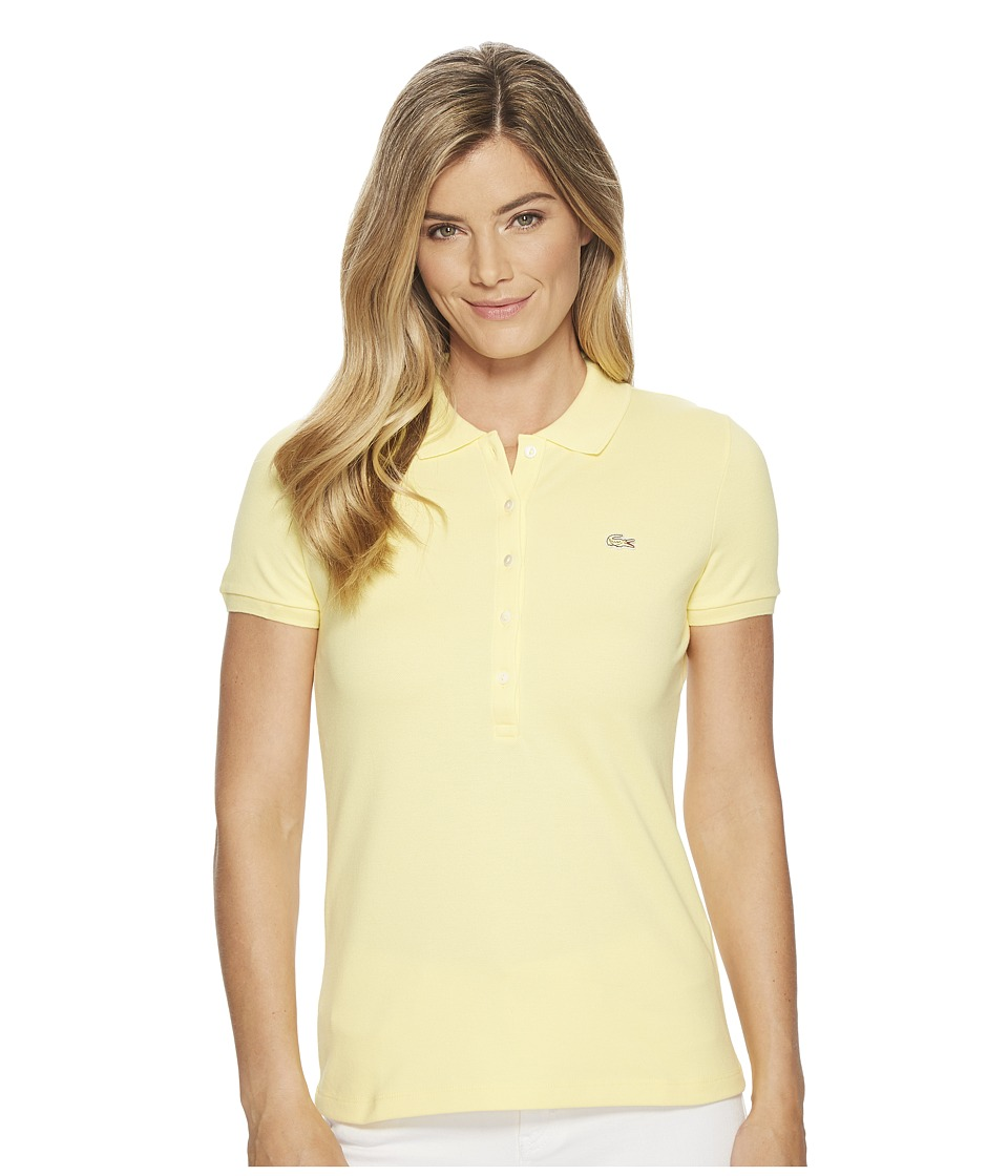 Lacoste - Short Sleeve Slim Fit Stretch Pique Polo Shirt (Yellow) Womens Clothing