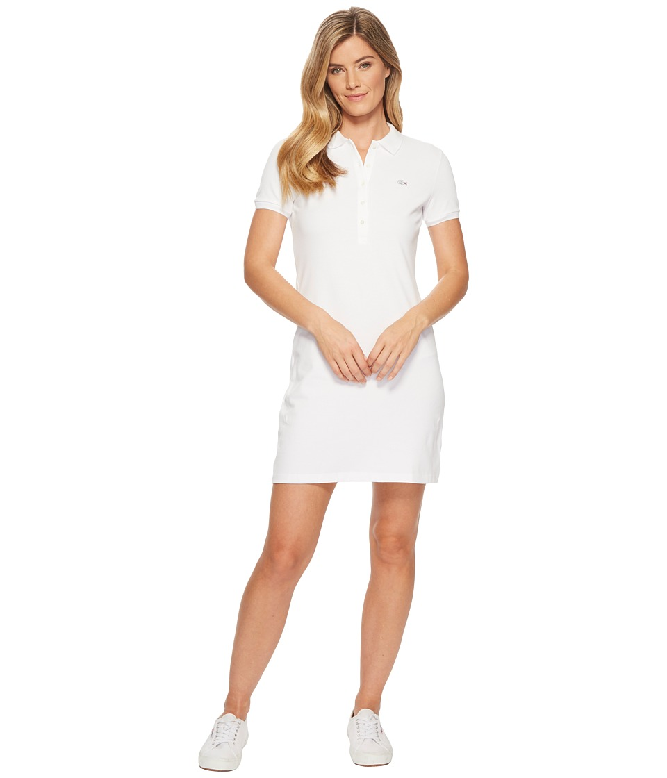 Lacoste - Short Sleeve Pique Polo Dress (White) Womens Dress