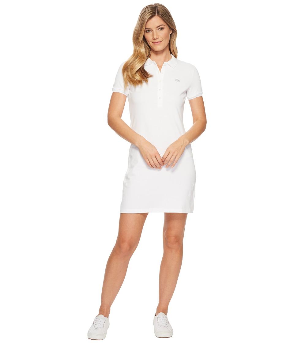 Lacoste - Short Sleeve Pique Polo Dress (White) Womens Dress