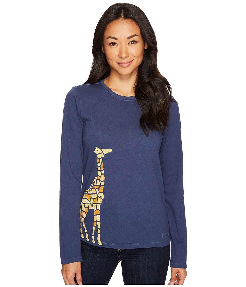 Life is Good Tile Giraffe Long Sleeve Crusher Tee (Darkest Blue) Women