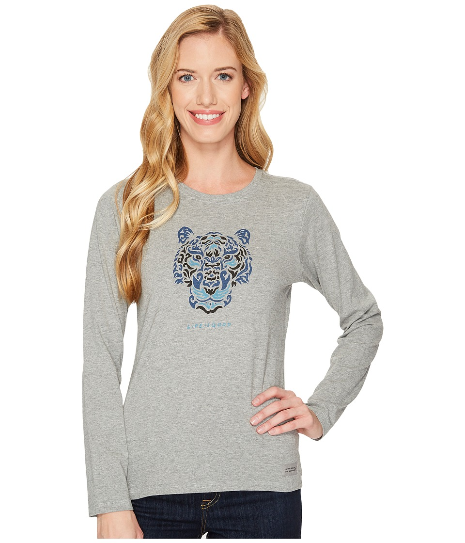 Life is Good - Tiger Face Long Sleeve Crusher Tee (Heather Gray) Womens T Shirt