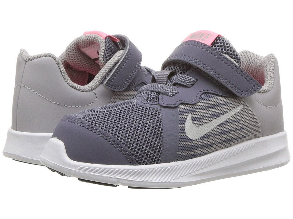 Nike Kids Downshifter 8 (Infant/Toddler) (Light Carbon/Metallic Silver) Girls Shoes