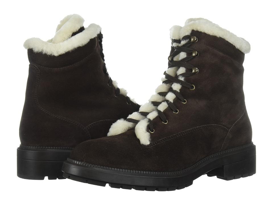 Aquatalia Lenore (Dark Brown Suede/Shearling) Women's Shoes