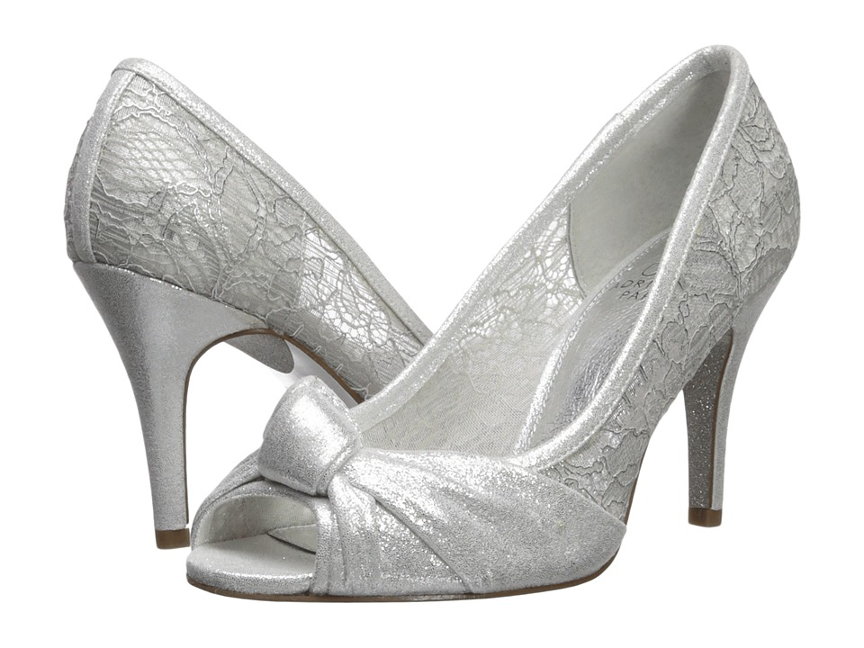 1940s Style Wedding Dresses | Classic Wedding Dresses Adrianna Papell - Francesca Silver High Heels $119.00 AT vintagedancer.com