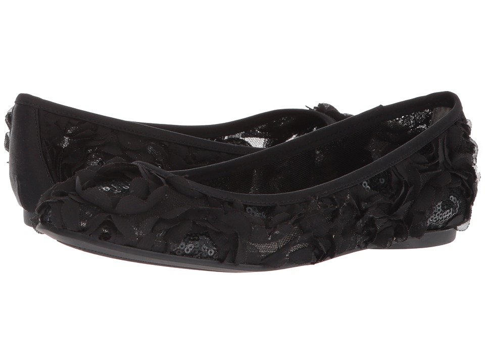 Adrianna Papell - Bernadette (Black Botanica Sequin) Womens Dress Flat Shoes