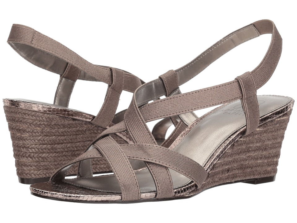 Adrianna Papell - Alba (Gunmetal Metallic Elastic) Womens Wedge Shoes