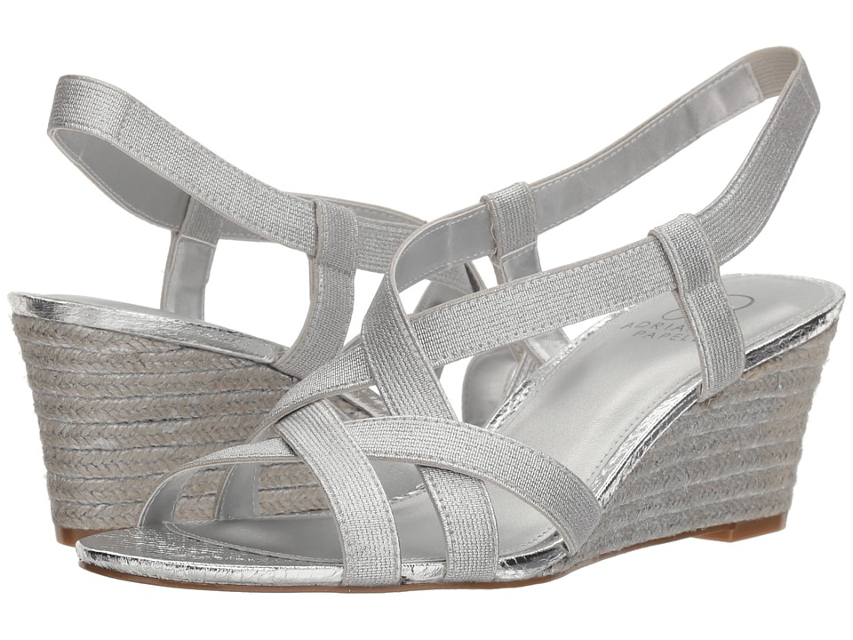 Adrianna Papell Alba (Silver Elastic) Wedges