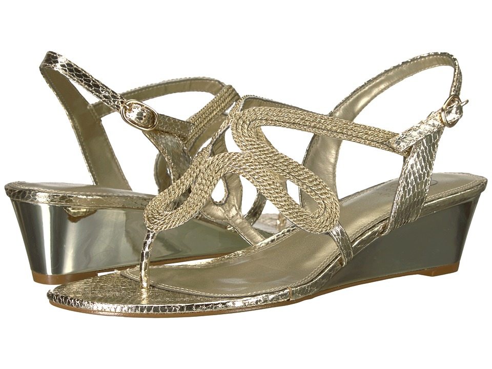Adrianna Papell - Cannes (Platino Metallic Rope) Womens Wedge Shoes