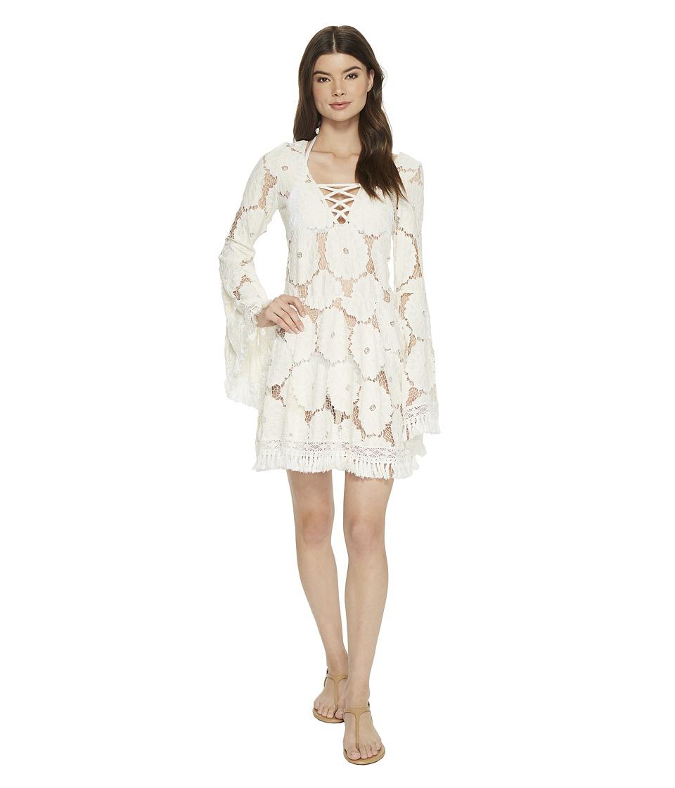 Luli Fama Flor De Tabaco Bell Sleeve Dress (Perla)