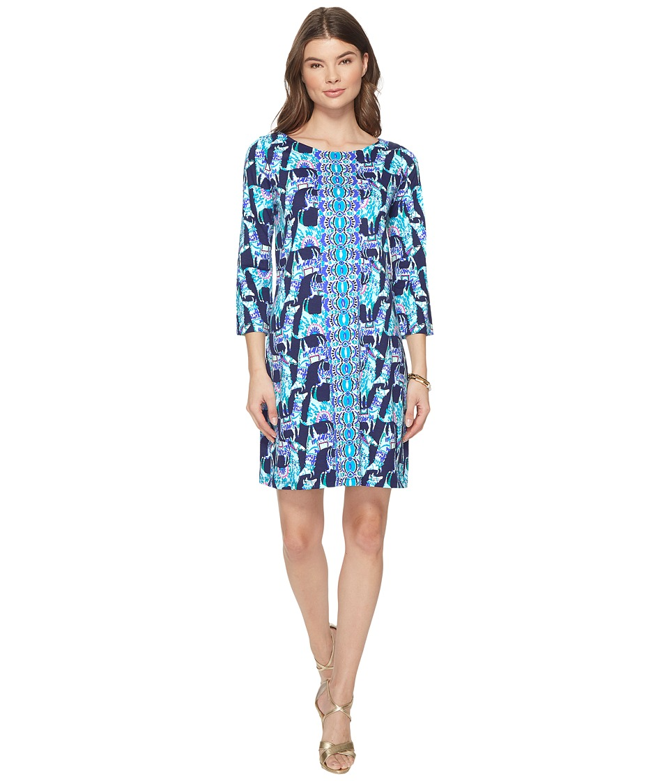 Lilly Pulitzer Bay Dress (Bright Navy Alpaca My Bags Engineered Dress) Women
