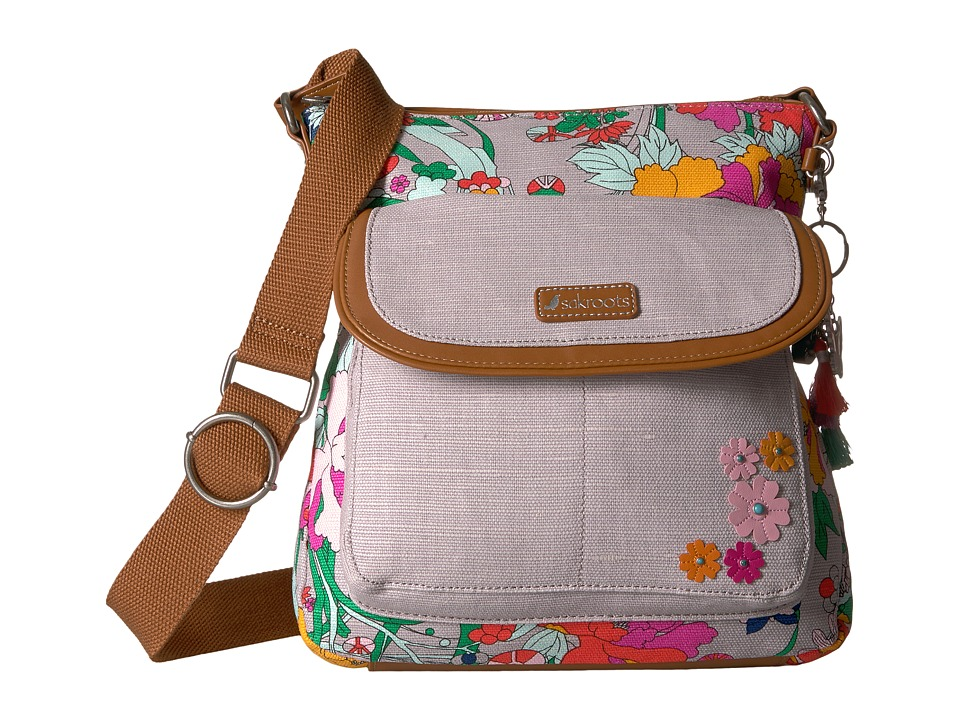 Sakroots - Artist Circle Flap Crossbody (Lilac Flower Power) Cross Body Handbags