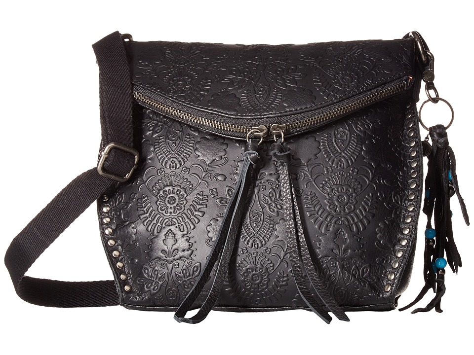 The Sak - Silverlake Crossbody (Black Floral Embossed) Cross Body Handbags