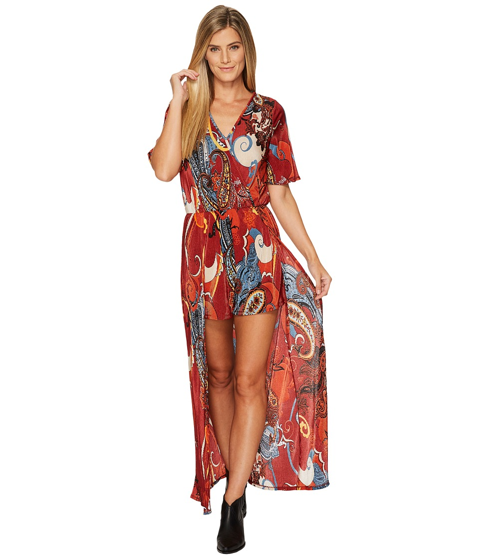 Wrangler - Short Sleeve Train Paisley Romper (Red/Blue) Women's Jumpsuit & Rompers One Piece