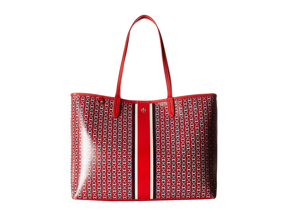 Tory Burch Gemini Link Tote (Exotic Red Gemini Link Strip...