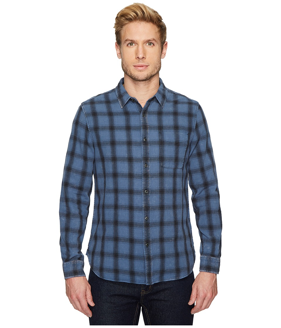 AG Adriano Goldschmied - Colton Long Sleeve Washed Plaid Shirt in 15 Years Faded Pacific Coast/Black (15 Years Faded Pacific Coast/Black) Mens Clothing