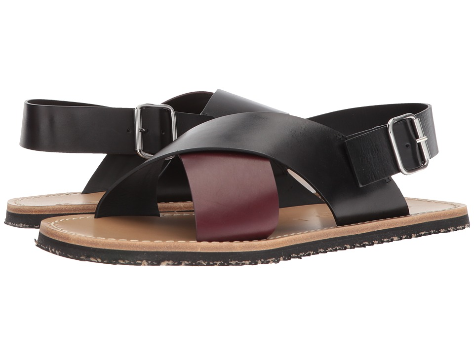 MARNI - Crossover Sandal (Black/Burgundy) Mens Sandals
