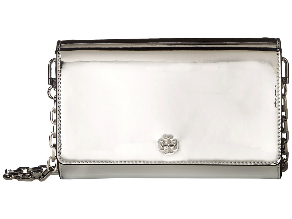 Tory Burch Robinson Mirror Metallic Chain Wallet (Silver)...