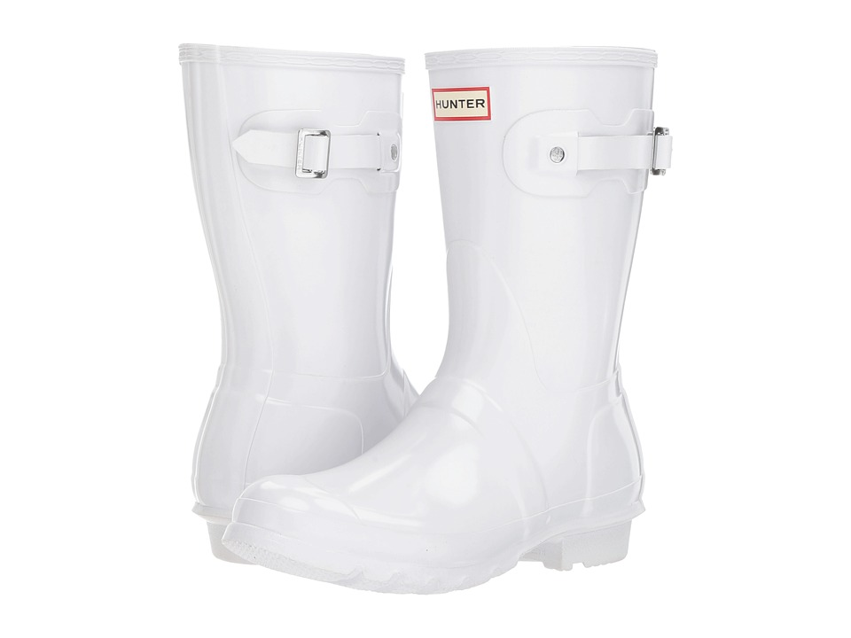 Hunter Original Short Gloss Rain Boots (White) Women