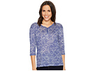 Tribal 3/4 Sleeve Henley Knit Burnout Top