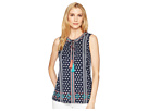 Tribal Printed Jersey Sleeveless Top with Embroidery Detail
