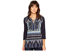 Tribal 3/4 Sleeve Lace-Up Printed Top