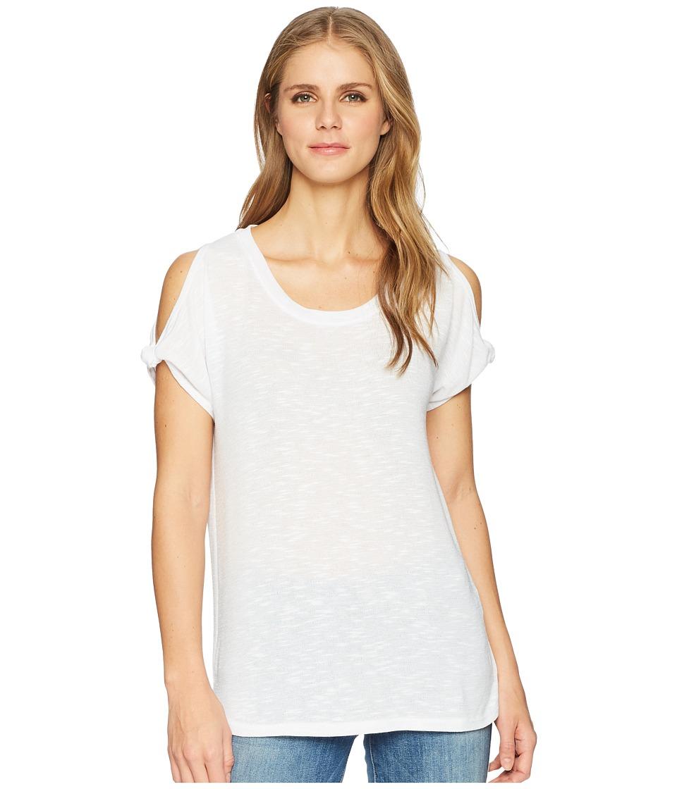 Tribal - Slub Knit Twisted Cap Sleeve Top (White) Womens T Shirt
